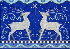 NEEDLEPOINT Handpainted Amanda Lawford Christmas 2 REINDEER Blue Silver
