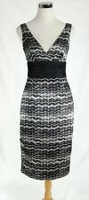 EUC London Times Size 4 Black & White Sheath Party Dress Polyester Fully Lined