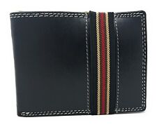 Casaba Genuine Leather Bifold Mens Womens Wallet Security Band Two Cash Slots