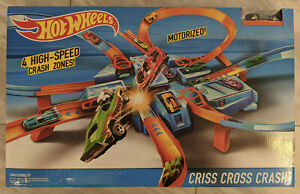 Hot Wheels Criss Cross Crash Motorized Track Set4 Crash Zones, NEW, Sealed
