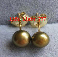 wholesale AAAA south  sea 5.5-6mm black green pearl earrings 14k Gold