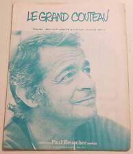 Partition vintage sheet music SERGE REGGIANI : Le Grand Couteau * 70's