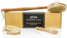 Body & Face Brush set for Dry Skin Brushing with Natural Boar Bristles and Long