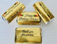 72 Gold Foil Birthday Personalized Candy Wrappers FOR YOUR HERSHEY MINIATURES