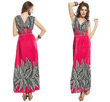 Ladies Womens Pink Printed Long Maxi V Neck Beach Summer Party Dress 10 12 14