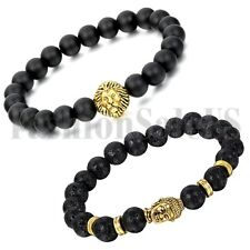 New Men's Women's Black Lava Matte Stone Lion Buddha Beaded Bracelet Bangle 2pcs
