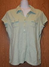 Womens Pale Green Relativity Cap Sleeve Polo Shirt Size Large excellent