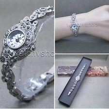 Antique Silver Marcasite Women Watch Japan Quartz Brass Case Vintage Bracelet 04