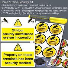 Hogar/oficina seguridad Kit-Señales de advertencia, marcador de UV, Pegatinas De Cctv, Luz Uv