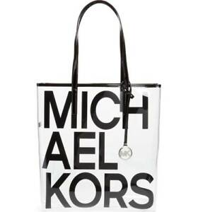 Michael Kors Large North South Transparent Tote Bag Clear/Black SEALED PACKAGE