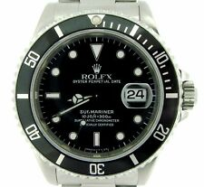 Mens Rolex Submariner Stainless Steel Watch w/ Black Dial & Bezel Date Sub 16610