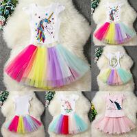 Kid Baby Unicorn Girls Party Lace Prom Dress Wedding Princess Tutu Tulle Dresses