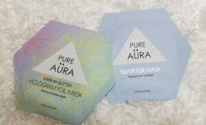 Pure Aura Premium Foil Face Mask 2pc New