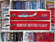 Keyring CESSNA 210 Centurion Pilot RED Remove Before Flight tag keychain