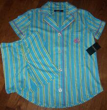 NWT Ralph Lauren AQUA Blue/Green/Pink Stripes KNIT Pajamas SHORTS/Top Set M CUTE