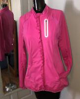 Athleta Womens Zip Up Jacket Running Athleisure Thumbholes Ruffle Pink Size M