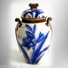Adderley England flow blue covered jar with handles - FREE SHIPPIMG