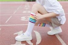 Ladies juniors boys KNEE HIGH tube socks RAINBOW black or white