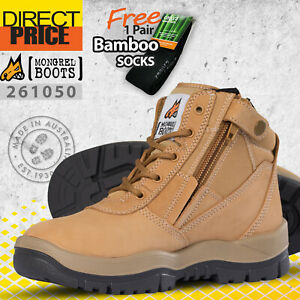 Mongrel Work Boots 261050 Steel Toe Safety Zip Sider Lace Up Ankle Wheat Working