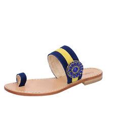 scarpe donna CALPIERRE 38 sandali blu giallo camoscio BZ841-C