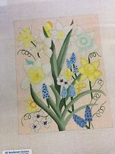 needlepoint canvas with stitch guide    DAFFY'S AND HYACINTHS   BB DESIGNS