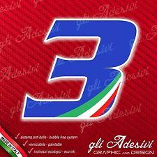 Adesivo Stickers NUMERO 3 moto auto cross gara Blu & Tricolore