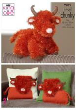 King Cole 9089 Knitting Pattern Highland Cow Toy Cushion Covers in Tinsel Chunky