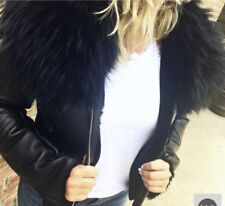 Genuine Leather Jacket With Raccoon Collar