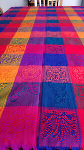 Tablecloth, Hand loomed, Made in Mexico, Multicolour, Rectangular, 6 seater
