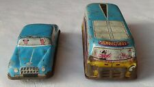 ORIGINAL VINTAGE TIN PLATE TOY SCHOOL BUS + SALOON CAR C1960S PLAYWORN V/RARE