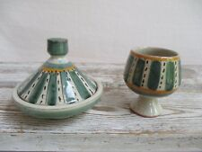 Mini Spice Tagine and Open Pedestal Salt Cup Hand Painted Red Clay