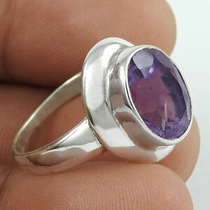 Halloween Gift Amethyst Gemstone Ring Size 7.5 925 Sterling Silver Jewelry O38