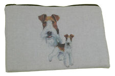 More details for wirehaired fox terrier dog padded zipped tablet case pencil case make up bag