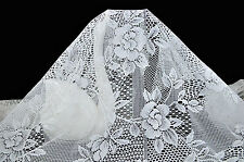 "Ivory White Big Flower (5"") Lace Fabric Floral Style 45"" Wide ~ 5 Free 1"