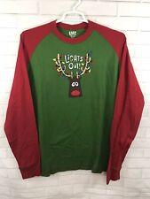 Lazy One Unisex Tee Lights Out Holiday Christmas Shirt Pajama Sleep Size XL