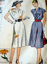Lovely Vtg 1940s Embroidered Dress Sewing Pattern 16/34 Ff