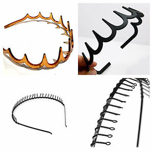 Wire & plastic toothed zig zag alice hair band headband sports ladies mens