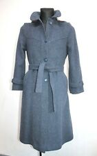 VTG WOOL DUFFLE COAT Hooded with Belt WARM WINTER BLUE Plaid LONG JACKET 38 / 40