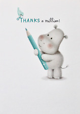 Thanks a million! thank you small greetings card & envelope, animals theme, new