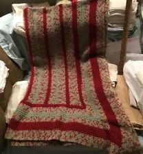Afghan Handmade crocheted throw Red and Green Mostly