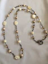 """Silpada 36"""" long Mother-of-Pearl, Riverstone & Coco Bead Necklace"""