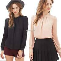 Women Office Lady Casual Chiffon Long Sleeve Ruffle Loose Blouse Tops Black Pink