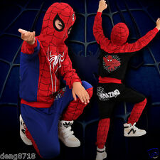 Baby Bambini Ragazzi Spiderman Tuta Da Ginnastica Felpe con cappuccio Tops pantaloni lunghi Set Abiti 2PCS