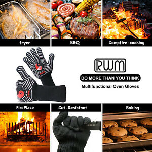 RWM BBQ Grill Gloves, Heat Resistant Cooking Gloves, Non-slip Silicone Coated ..