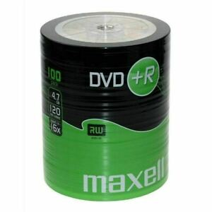 Maxell DVD+R 47 100 Pack Shrink 4.7GB Data 120 Minutes Of Video Time, 16x Speed