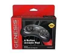 Retro-Bit Official Sega Genesis BLACK Controller 6-Button Arcade Pad