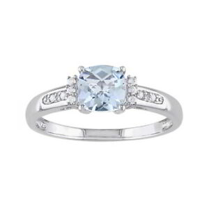 Aquamarine March Birthstone and Real Diamond Ring in Sterling Silver