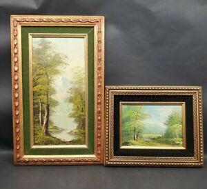 2 Framed Acrylic Paintings Original Signed Reeves Landscape Fine Art Trees Creek