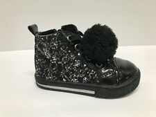 Harper Canyon Toddler/Kids Girls Black Glitter Pom Pom Fashion Sneakers sz 5