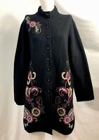 Alexandra Bartlett Black Knit Embroidered Wool Jacket, Women's Size 1X